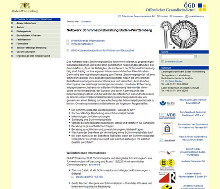 Screenshot der Website des Landesgesundheitsamts